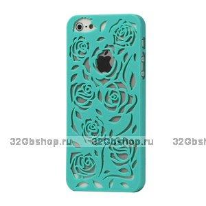 Пластиковая накладка Rose Flower Plastic Case Mint Green для iPhone 5 / 5s / SE зеленые розы