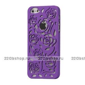 Пластиковая накладка Rose Flower Plastic Case Purple для iPhone 5 / 5s / SE фиолетовые розы
