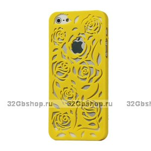 Пластиковая накладка Rose Flower Plastic Case Yellow для iPhone 5 / 5s / SE желтые розы