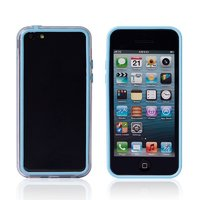 Пластиковый бампер для iPhone 5c голубой с прозрачной вставкой