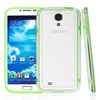 Чехол бампер для Samsung Galaxy S4 mini прозрачный с зеленой вставкой