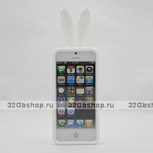 Силиконовая накладка Rabbit Ears Case для iPhone 5 / 5s / SE белая