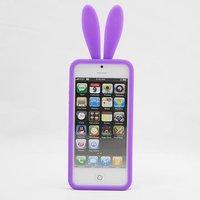 Силиконовая накладка Rabbit Ears Case для iPhone 5 / 5s / SE фиолетовая
