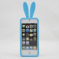 Силиконовая накладка Rabbit Ears Case для iPhone 5 / 5s / SE голубая
