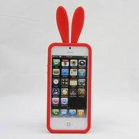 Силиконовая накладка Rabbit Ears Case для iPhone 5 / 5s / SE красная