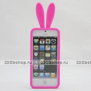 Силиконовая накладка Rabbit Ears Case для iPhone 5 / 5s / SE розовая