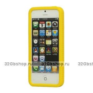 Силиконовый бампер для iPhone 5 / 5s / SE желтый