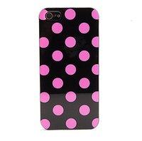 Силиконовый чехол для iPhone 5 / 5s / SE черный в розовый горошек