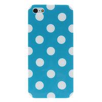 Силиконовый чехол для iPhone 5 / 5s / SE голубой в белый горошек