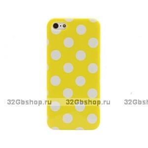 Силиконовый чехол для iPhone 5 / 5s / SE желтый в белый горошек