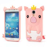 Силиконовый чехол для Samsung Galaxy S4 светло-розовый поросенок - Pig Silicone Case Light Pink
