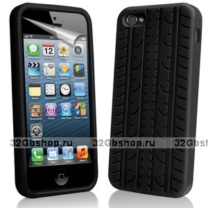 Силиконовый чехол накладка Tyre Tread Case для iPhone 5 / 5s / SE черный протектор шины