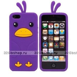 Силиконовый чехол накладка Funny Duck для iPhone 5 / 5s / SE фиолетовый утенок