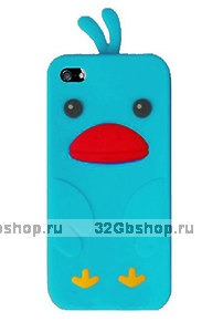 Силиконовый чехол накладка Funny Duck для iPhone 5 / 5s / SE голубой утенок