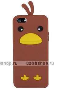 Силиконовый чехол накладка Funny Duck для iPhone 5 / 5s / SE коричневый утенок