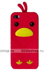 Силиконовый чехол накладка Funny Duck для iPhone 5 / 5s / SE красный утенок