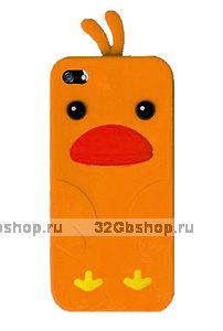Силиконовый чехол накладка Funny Duck для iPhone 5 / 5s / SE оранжевый утенок