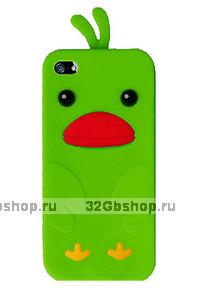 Силиконовый чехол накладка Funny Duck для iPhone 5 / 5s / SE зеленый утенок