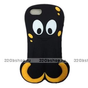 Силиконовый чехол Octopus 3D Silicone Case Black для iPhone 5 / 5s / SE черный осьминог