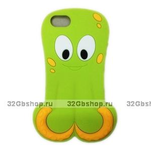 Силиконовый чехол Octopus 3D Silicone Case Green для iPhone 5 / 5s / SE зеленый осьминог