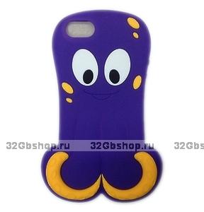 Силиконовый чехол Octopus 3D Silicone Case Purple для iPhone 5 / 5s / SE фиолетовый осьминог