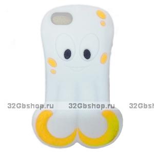 Силиконовый чехол Octopus 3D Silicone Case White для iPhone 5 / 5s / SE белый осьминог