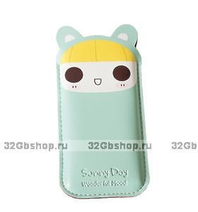 Чехол карман Sunny Day Mouse Black Pouch для iPhone 5 / 5s / SE голубая мышка