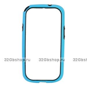 Силиконовый бампер для Samsung S4 - Blue Siliсone Bumper for Samsung Galaxy S4 - голубой