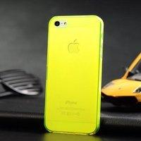 Ультратонкая накладка Ultra Thin Matte Crystal Case 0.5mm для iPhone 5 / 5s / SE желто-зеленая
