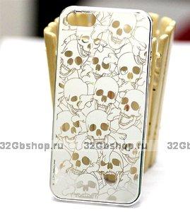 Задняя крышка для iPhone 5 / 5s / SE Skull heads белая
