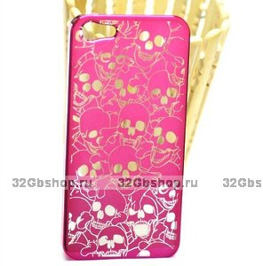 Задняя крышка для iPhone 5 / 5s / SE Skull heads малиновая