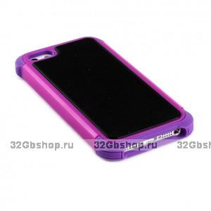 Задняя накладка с силиконовой вставкой для iPhone 5 / 5s / SE фиолетово-черная