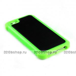Задняя накладка с силиконовой вставкой для iPhone 5 / 5s / SE зелено-черная